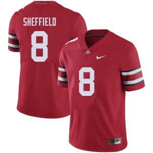 Mens Ohio State Buckeyes #8 Kendall Sheffield Red College Football Jerseys 478581-918