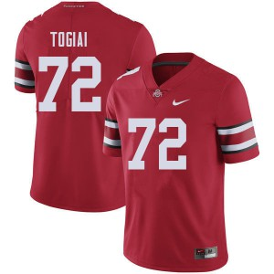 Mens Ohio State Buckeyes #72 Tommy Togiai Red College Football Jerseys 133469-948