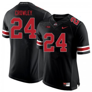 Mens Ohio State Buckeyes #24 Marcus Crowley Blackout College Football Jerseys 605461-812