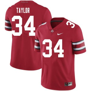 Mens Ohio State Buckeyes #34 Alec Taylor Red College Football Jerseys 680844-222
