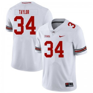 Mens Ohio State Buckeyes #34 Alec Taylor White College Football Jerseys 460130-453