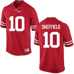 Mens Ohio State Buckeyes #10 Kendall Sheffield Red College Football Jerseys 938458-670