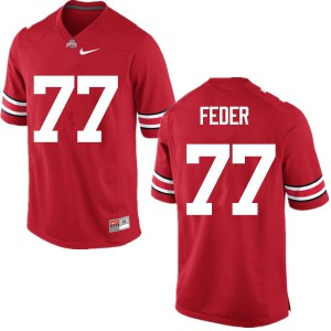 Mens Ohio State Buckeyes #77 Kevin Feder Red College Football Jerseys 902981-374
