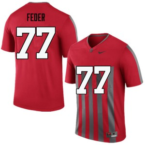 Mens Ohio State Buckeyes #77 Kevin Feder Throwback College Football Jerseys 907382-852