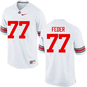 Mens Ohio State Buckeyes #77 Kevin Feder White College Football Jerseys 635011-989
