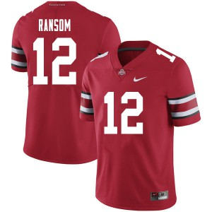 Mens Ohio State Buckeyes #12 Lathan Ransom Red College Football Jerseys 298659-584