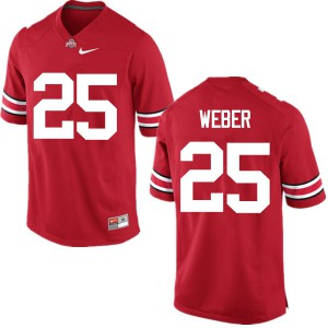 Mens Ohio State Buckeyes #25 Mike Weber Red College Football Jerseys 858437-588