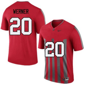 Mens Ohio State Buckeyes #20 Pete Werner Throwback College Football Jerseys 590406-985