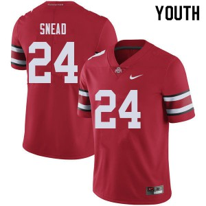 Youth Ohio State Buckeyes #24 Brian Snead Red College Football Jerseys 232774-206