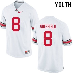 Youth Ohio State Buckeyes #8 Kendall Sheffield White College Football Jerseys 158522-482