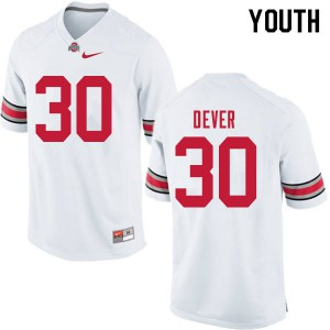 Youth Ohio State Buckeyes #30 Kevin Dever White College Football Jerseys 297894-734