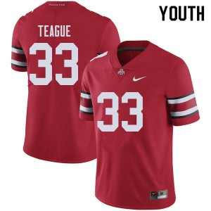 Youth Ohio State Buckeyes #33 Master Teague Red College Football Jerseys 866145-591