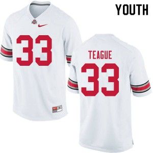 Youth Ohio State Buckeyes #33 Master Teague White College Football Jerseys 711867-234