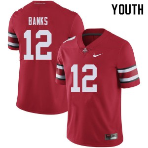 Youth Ohio State Buckeyes #12 Sevyn Banks Red College Football Jerseys 216291-595