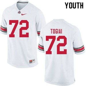 Youth Ohio State Buckeyes #72 Tommy Togiai White College Football Jerseys 222997-542