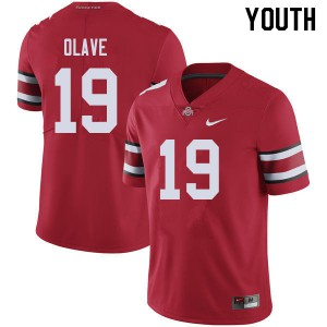 Youth Ohio State Buckeyes #19 Chris Olave Red College Football Jerseys 170564-442