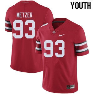 Youth Ohio State Buckeyes #93 Jake Metzer Red College Football Jerseys 845777-213