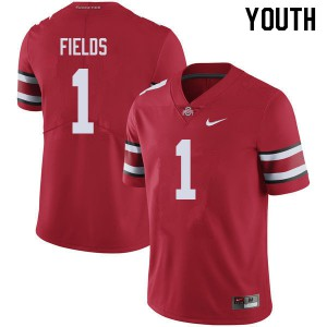 Youth Ohio State Buckeyes #1 Justin Fields Red College Football Jerseys 719551-837