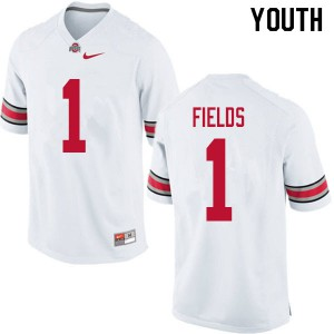 Youth Ohio State Buckeyes #1 Justin Fields White College Football Jerseys 407539-905