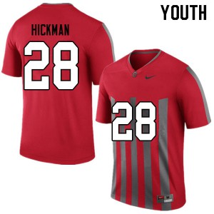 Youth Ohio State Buckeyes #28 Ronnie Hickman Throwback College Football Jerseys 807063-221