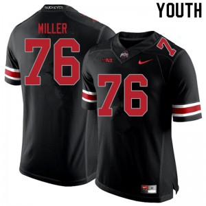 Youth Ohio State Buckeyes #76 Harry Miller Blackout College Football Jerseys 694417-287