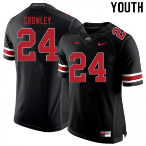 Youth Ohio State Buckeyes #24 Marcus Crowley Blackout College Football Jerseys 224080-643