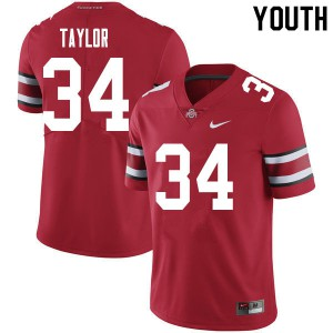 Youth Ohio State Buckeyes #34 Alec Taylor Red College Football Jerseys 230971-684