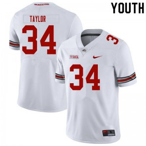 Youth Ohio State Buckeyes #34 Alec Taylor White College Football Jerseys 336993-940