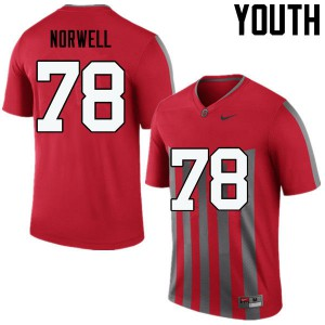 Youth Ohio State Buckeyes #78 Andrew Norwell Throwback College Football Jerseys 834997-156