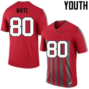 Youth Ohio State Buckeyes #80 Brendon White Throwback College Football Jerseys 539065-314
