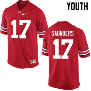 Youth Ohio State Buckeyes #17 C.J. Saunders Red College Football Jerseys 706128-650