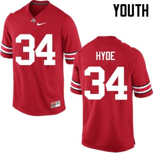 Youth Ohio State Buckeyes #34 Carlos Hyde Red College Football Jerseys 567497-927