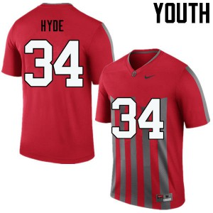 Youth Ohio State Buckeyes #34 Carlos Hyde Throwback College Football Jerseys 847816-251