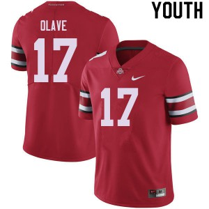 Youth Ohio State Buckeyes #17 Chris Olave Red College Football Jerseys 589480-962