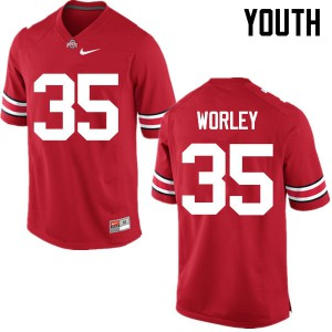 Youth Ohio State Buckeyes #35 Chris Worley Red College Football Jerseys 363161-271