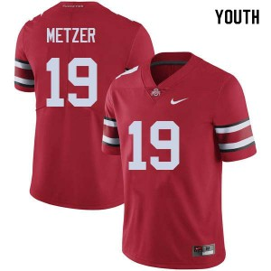 Youth Ohio State Buckeyes #19 Jake Metzer Red College Football Jerseys 421483-203