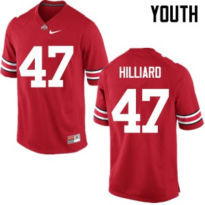 Youth Ohio State Buckeyes #47 Justin Hilliard Red College Football Jerseys 702216-508