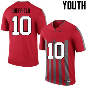 Youth Ohio State Buckeyes #10 Kendall Sheffield Throwback College Football Jerseys 241476-180