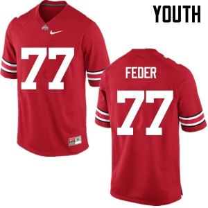 Youth Ohio State Buckeyes #77 Kevin Feder Red College Football Jerseys 892135-955