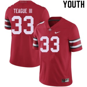 Youth Ohio State Buckeyes #33 Master Teague III Red College Football Jerseys 902700-792