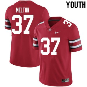 Youth Ohio State Buckeyes #37 Mitchell Melton Red College Football Jerseys 584512-478