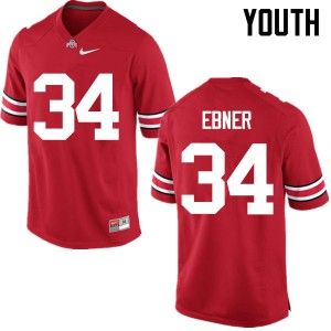 Youth Ohio State Buckeyes #34 Nate Ebner Red College Football Jerseys 589594-169