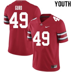 Youth Ohio State Buckeyes #49 Patrick Gurd Red College Football Jerseys 972559-230